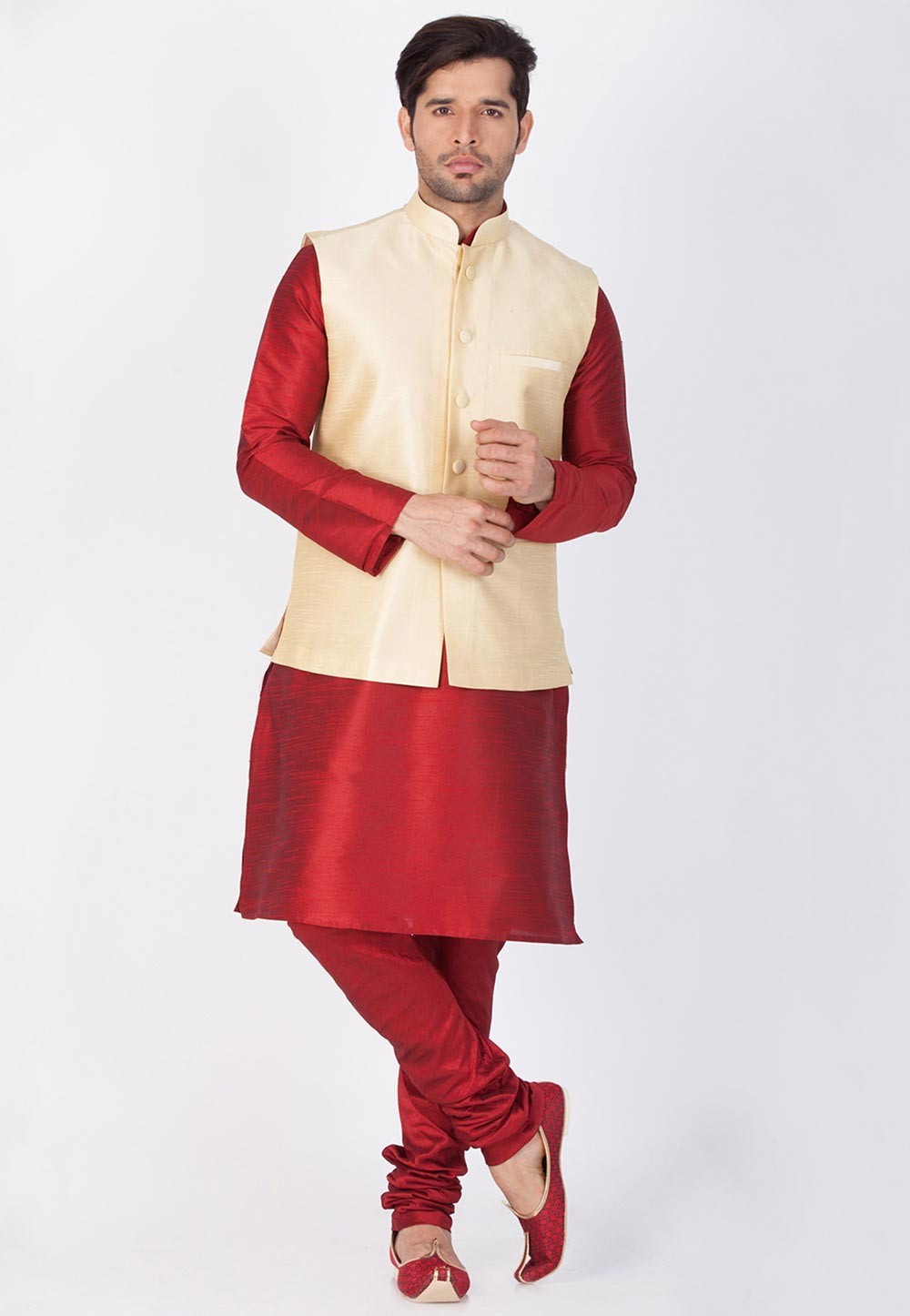 Latest Maroon,Golden Color Kurta Pyjama With Jacket