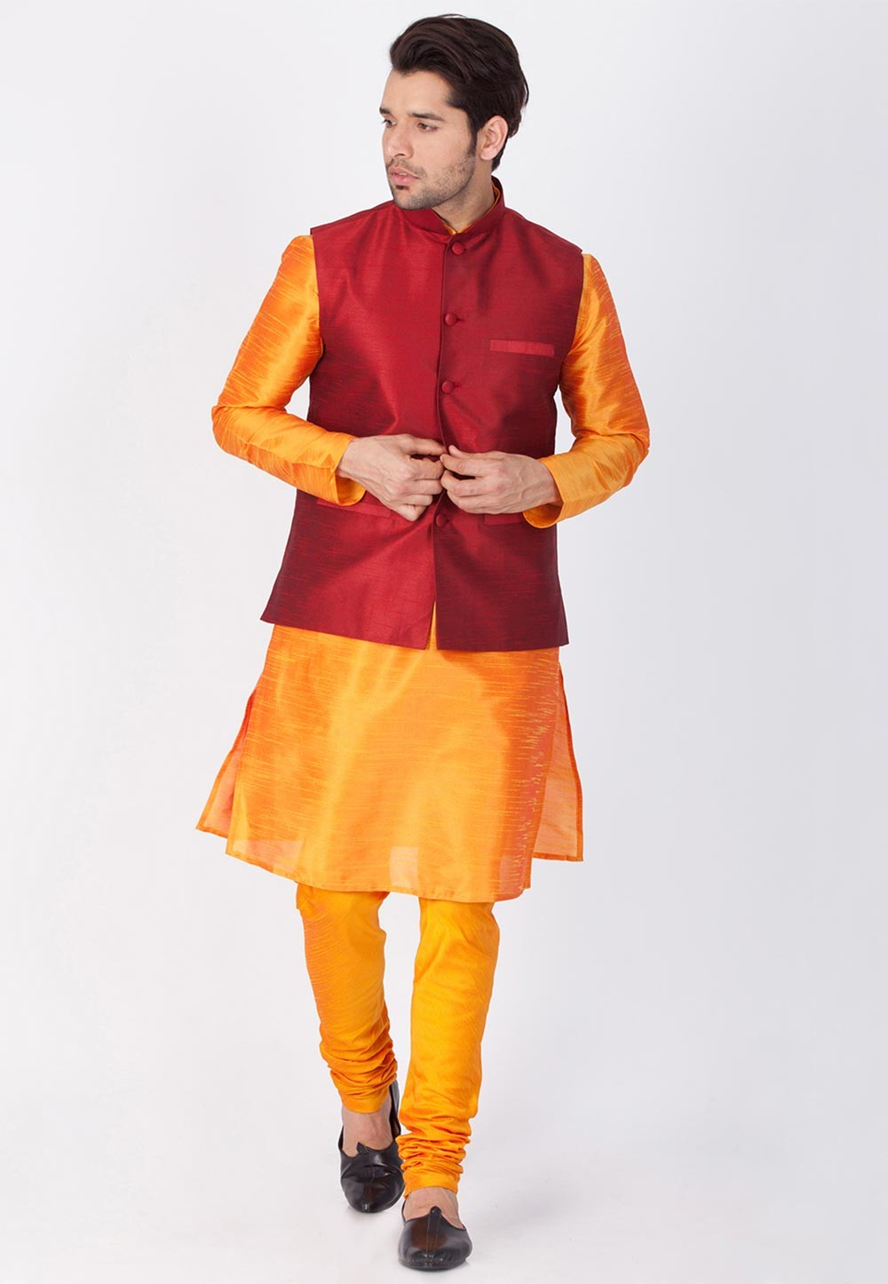 Latest Orange,Maroon Color Traditional Kurta Pajama with Jacket
