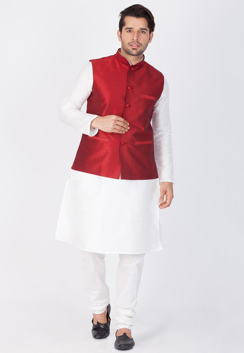 White,Maroon Color Kurta Pajama with Nehru Jacket
