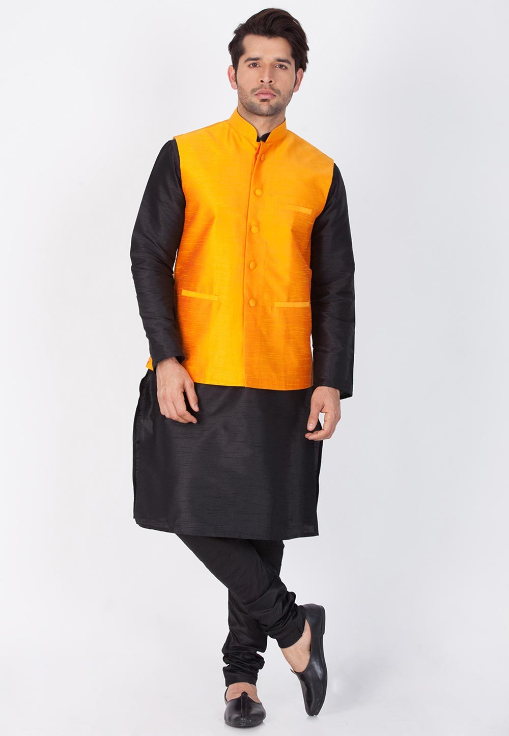 Latest Black,Orange Color Readymade Kurta Pajama with Jacket