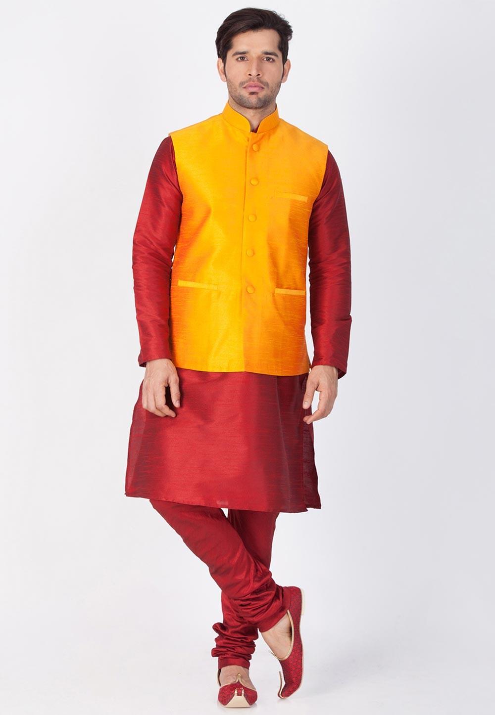 Maroon,Orange Color Cotton Silk Kurta Pajama With Nehru Jacket