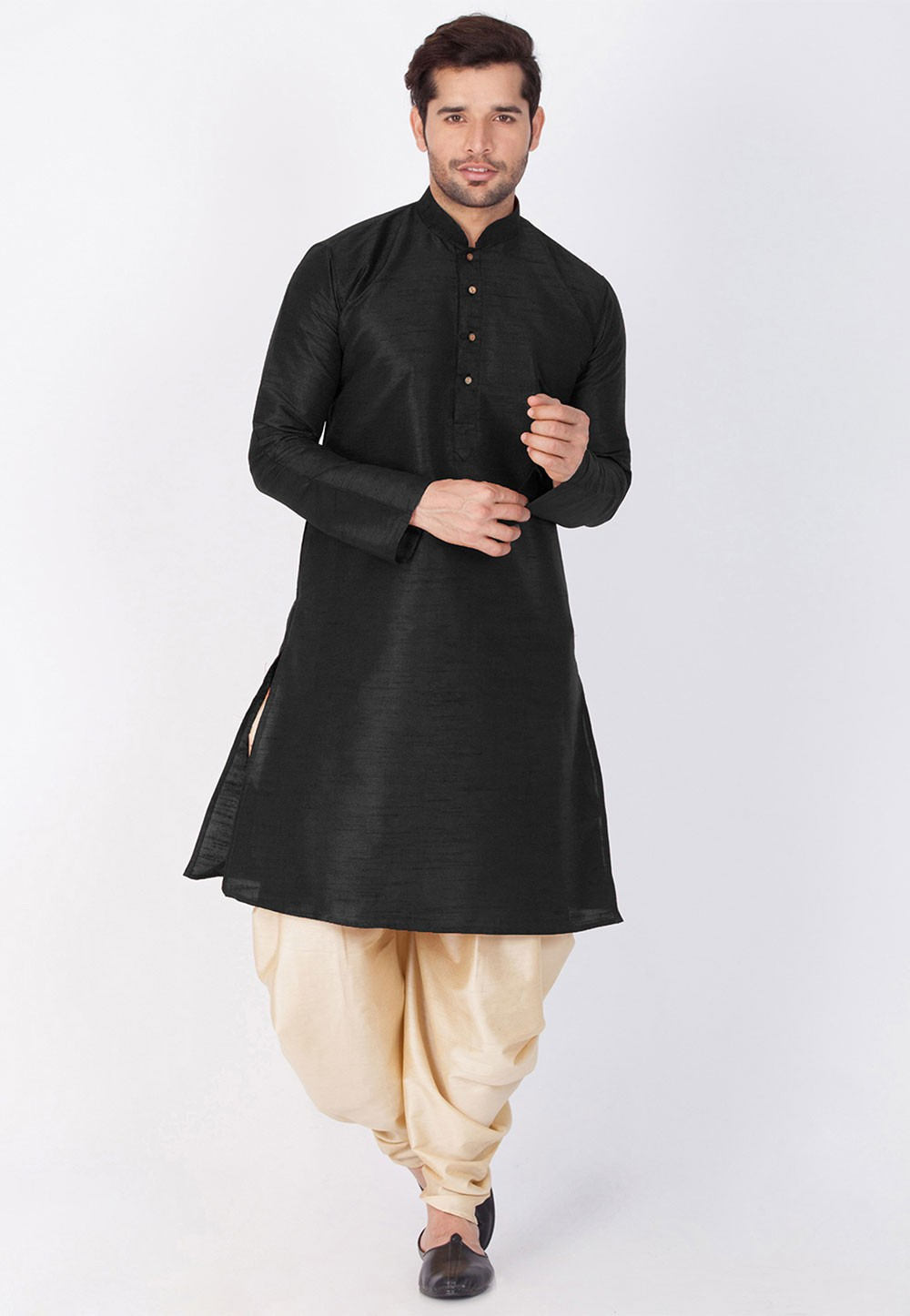 Buy Dhoti Kurta Online |  Black Color Cotton Silk