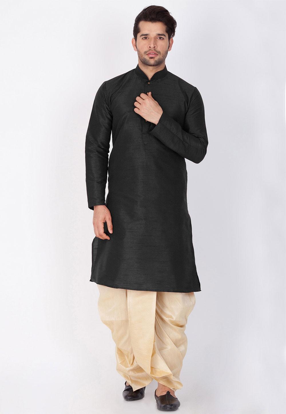 Men's Exquisite Black Color Dhoti Kurta for men