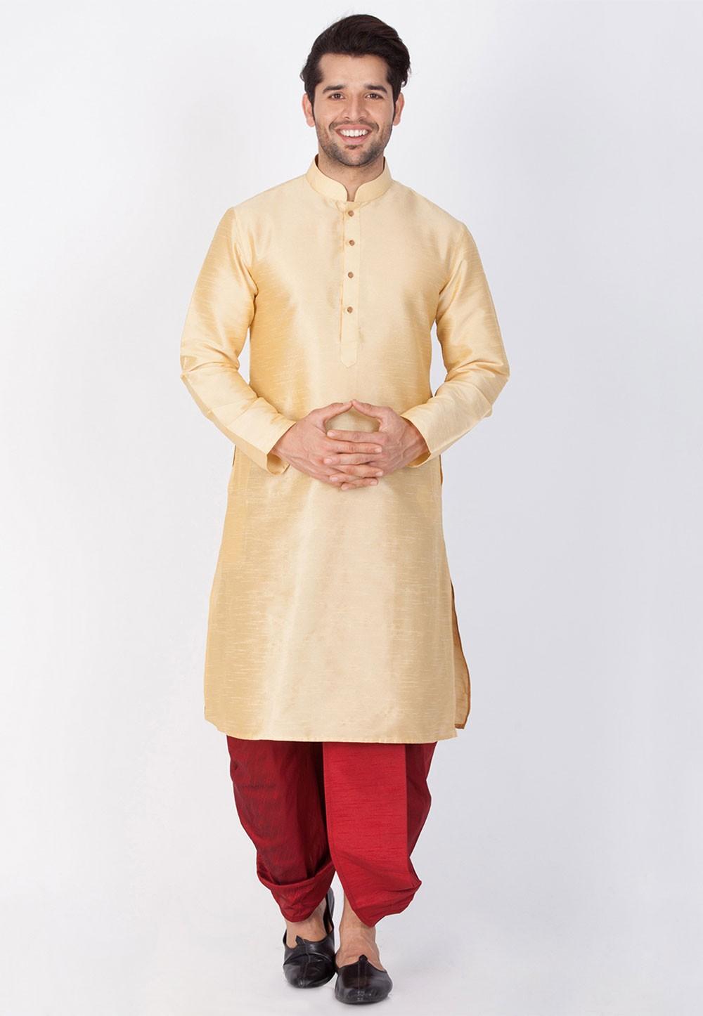 Readymade: Buy Dhoti Kurta Online for Men in Golden Color