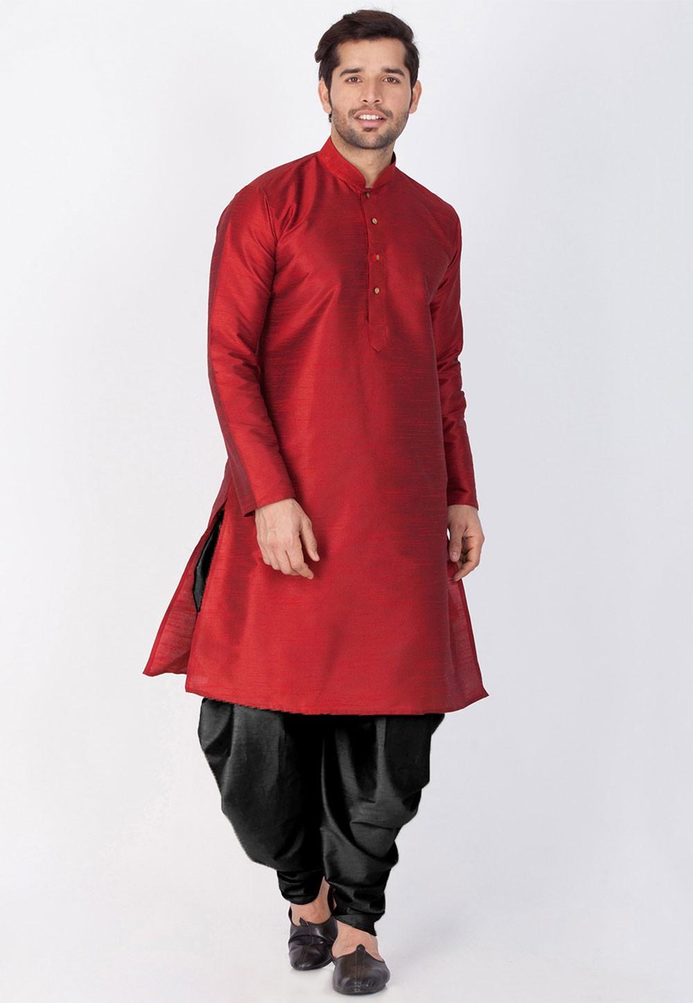 Readymade: Buy Dhoti Kurta Online for Men in Maroon Color