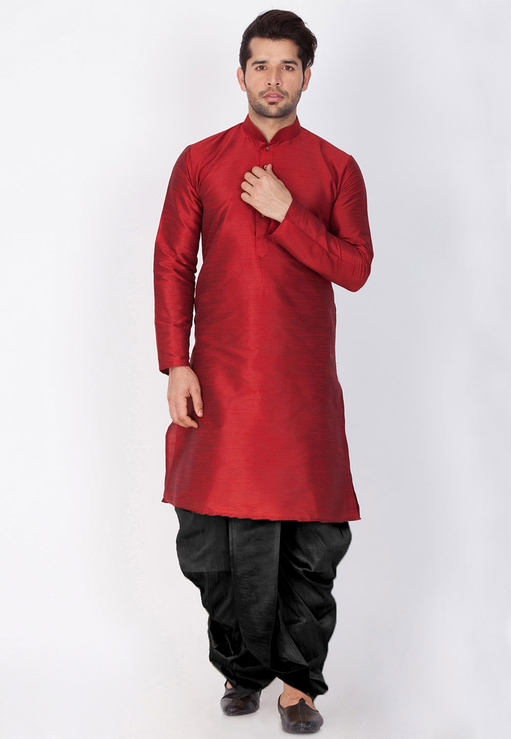 Cotton Silk: Buy Dhoti Kurta Online for Men in Maroon Color