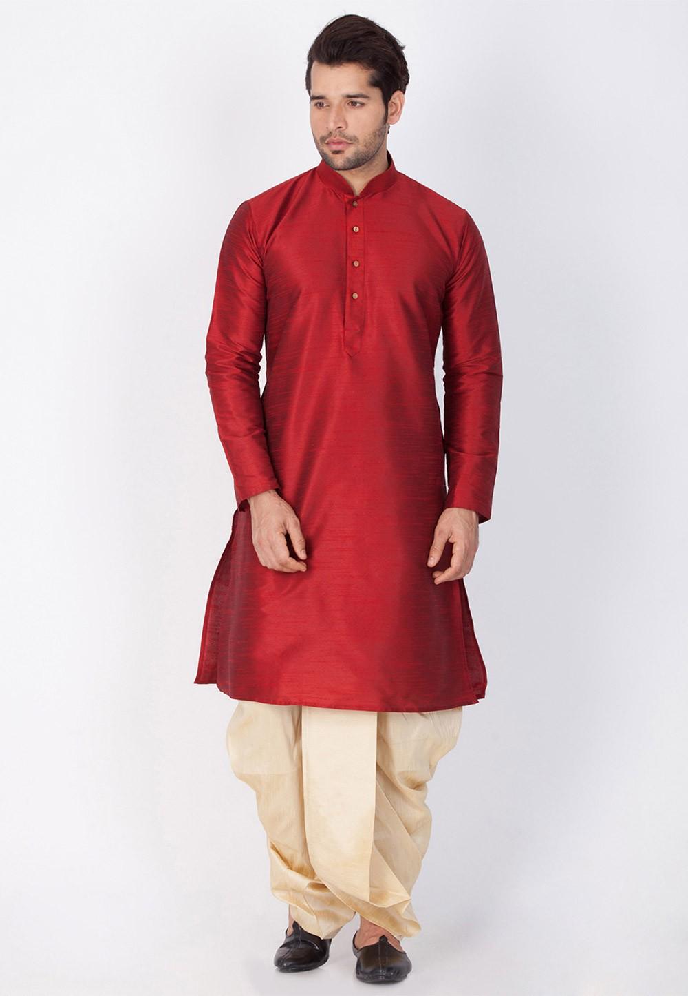 Buy Maroon Color Dhoti Kurta online