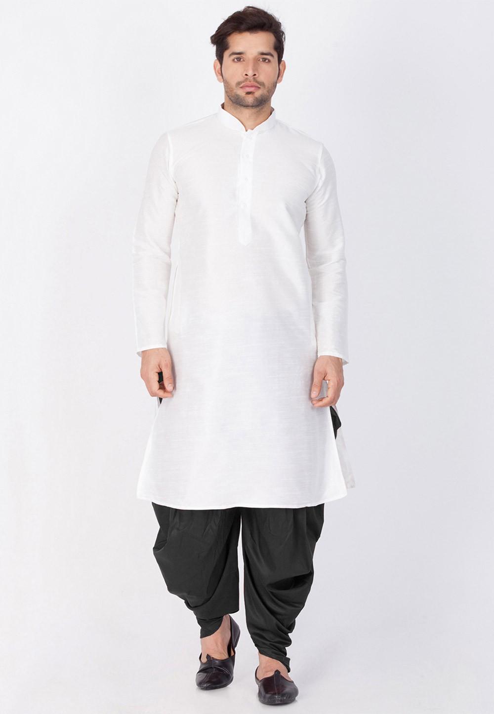 White Color Readymade Dhoti Kurta for Men