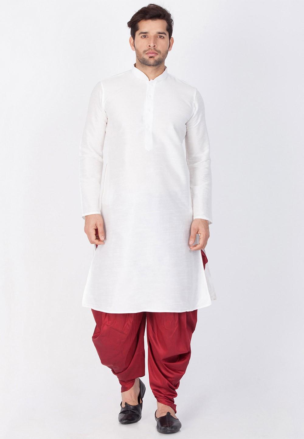 Buy Dhoti Kurta Online for Men in White Color