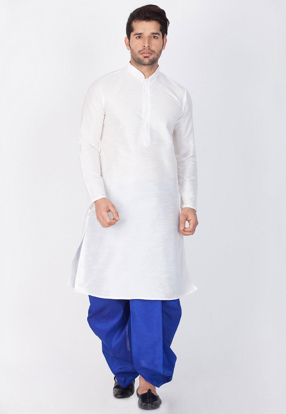 White Color Designer Dhoti Kurta for Men