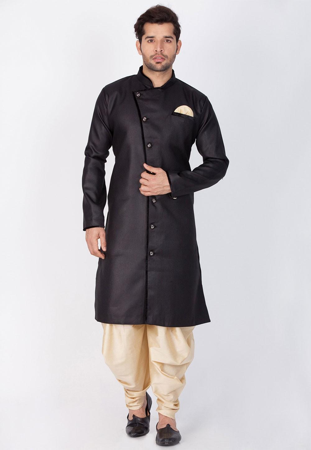 Black Color Cotton Dhoti Kurta for men