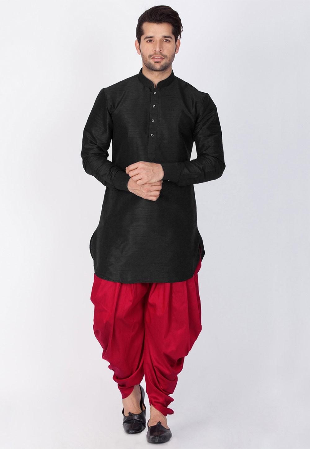 Party Wear: Buy Dhoti Kurta Online for Men in Black Color