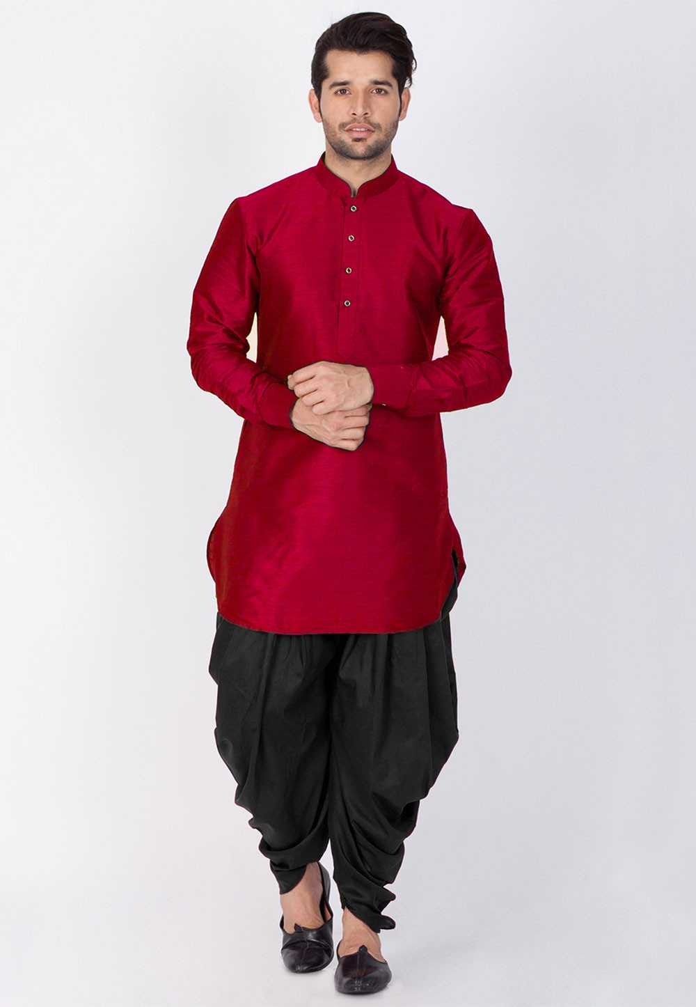 Buy Dhoti Kurta Online for Men Maroon Color
