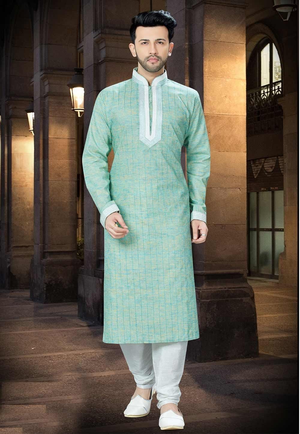 Green Color Kurta Pajama.