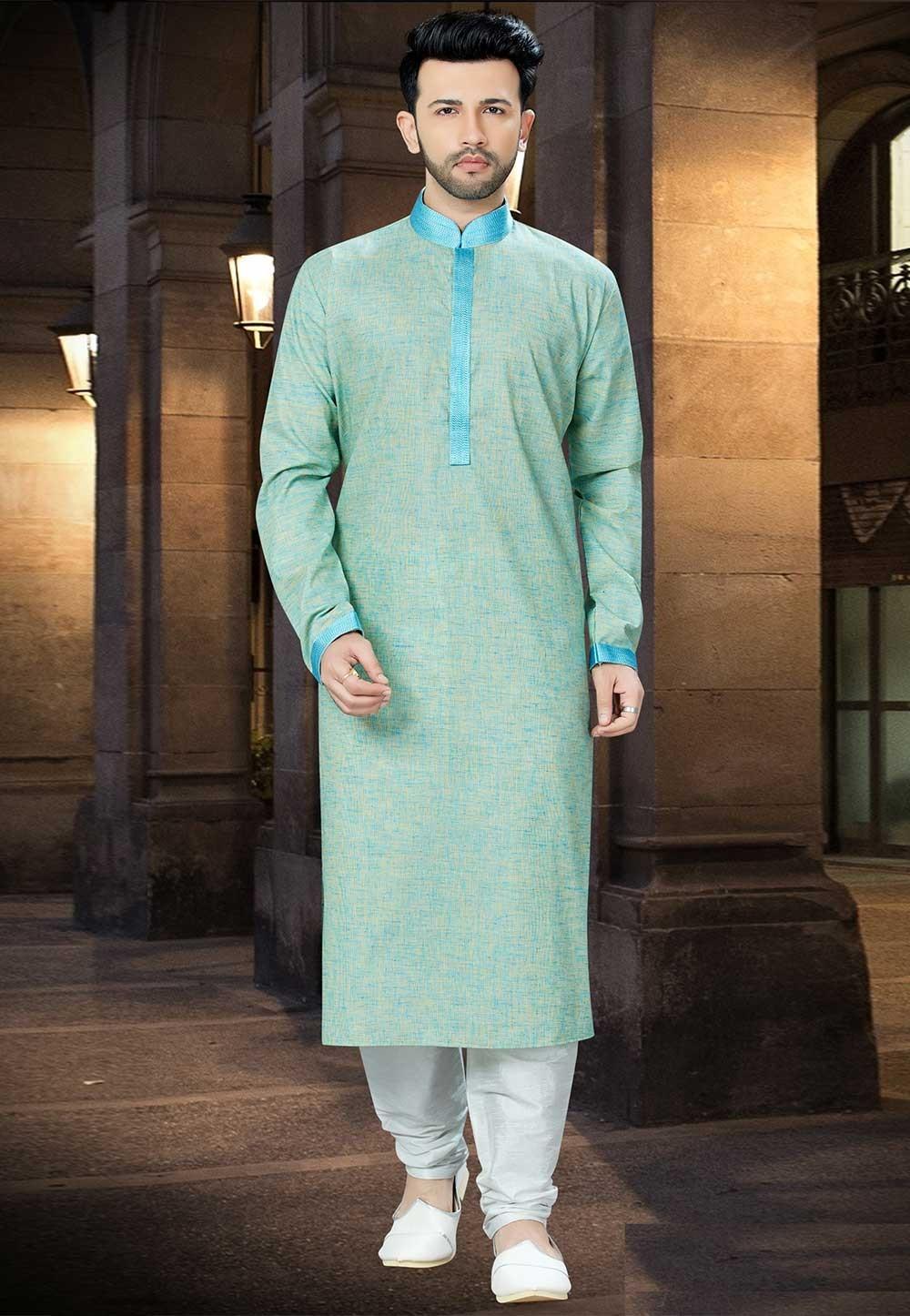 Green Color Khadi Silk Kurta Pajama.
