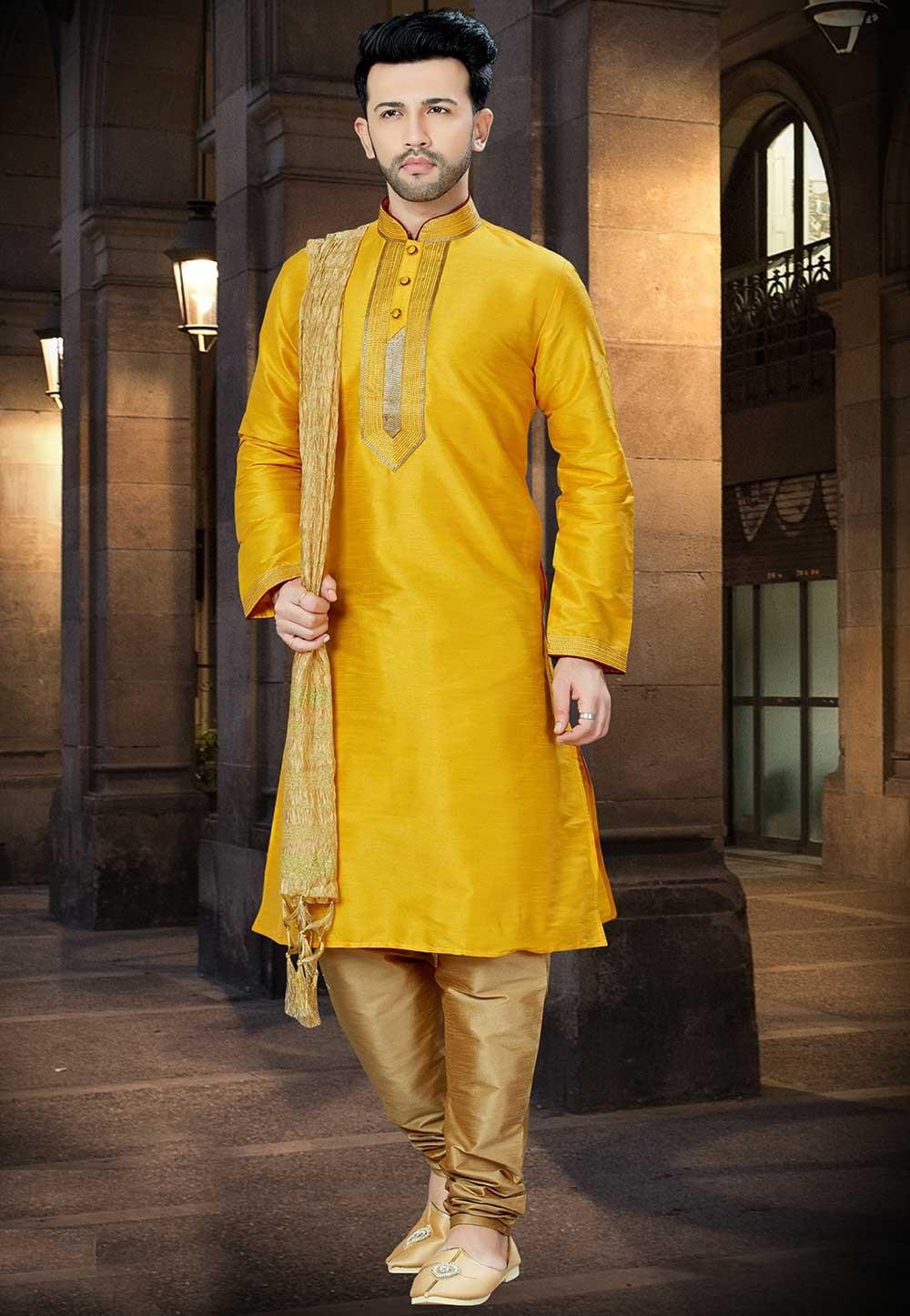 Yellow Color Designer Kurta Pajama.