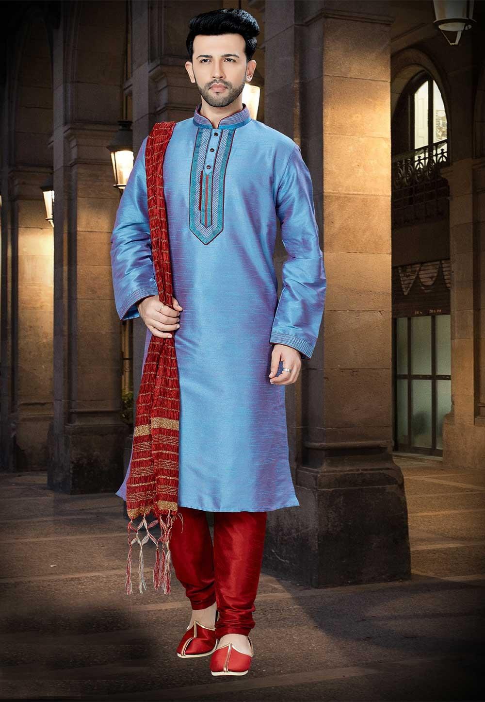 Sky Blue Color Men's Kurta Pajama.