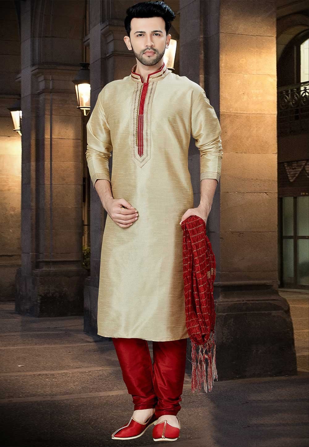 Exquisite Beige Color Designer Kurta Pyjama.