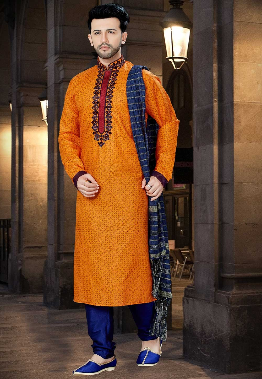 Orange Color Designer Kurta Pyjama.
