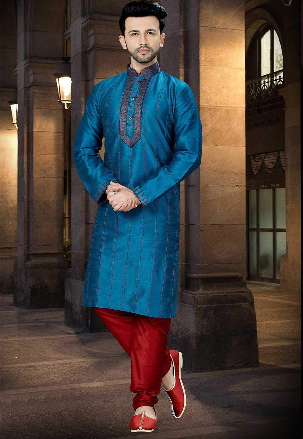 Blue Color Kurta Pajama.