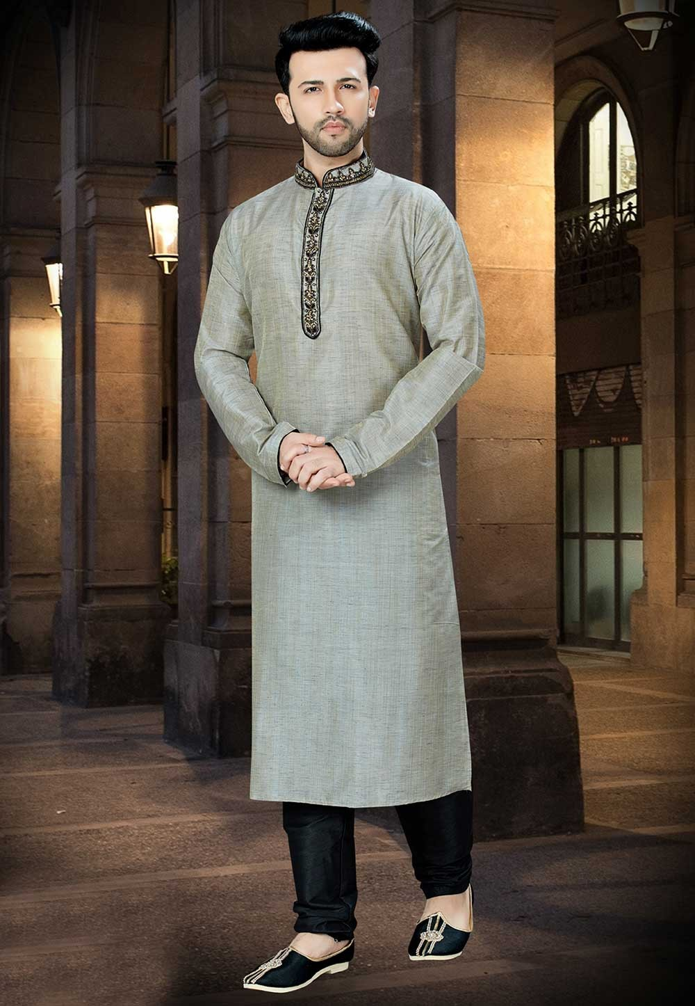 Grey Color Banglori Silk Kurta Pajama.