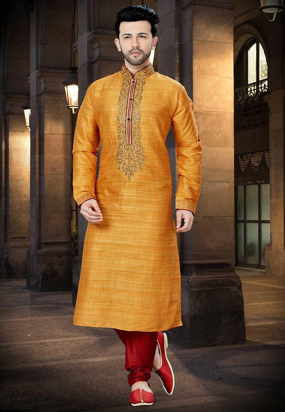 Yellow,Orange Color Wedding Kurta Pajama.