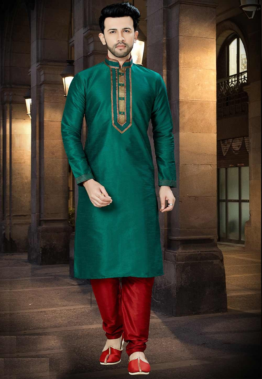 Green Color Kurta Pajama.