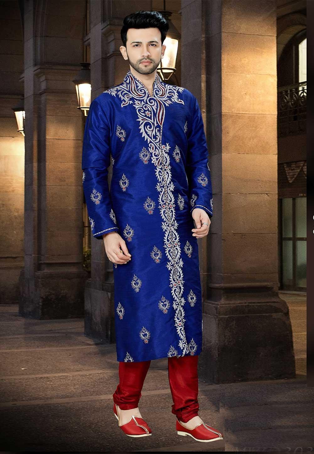 Royal Blue Color Indian Designer Kurta Pajama.