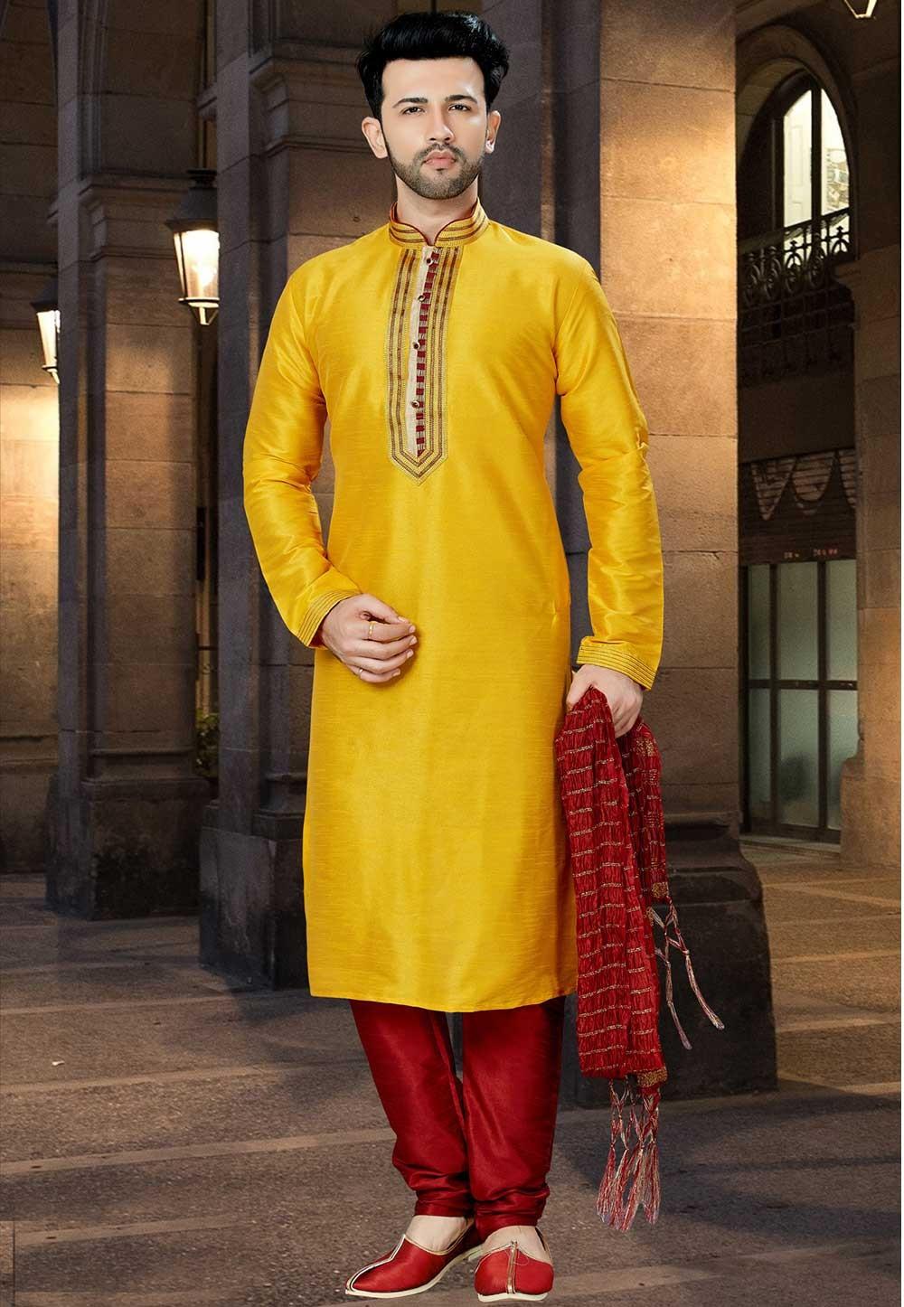 Yellow Color Indian Kurta Pajama.