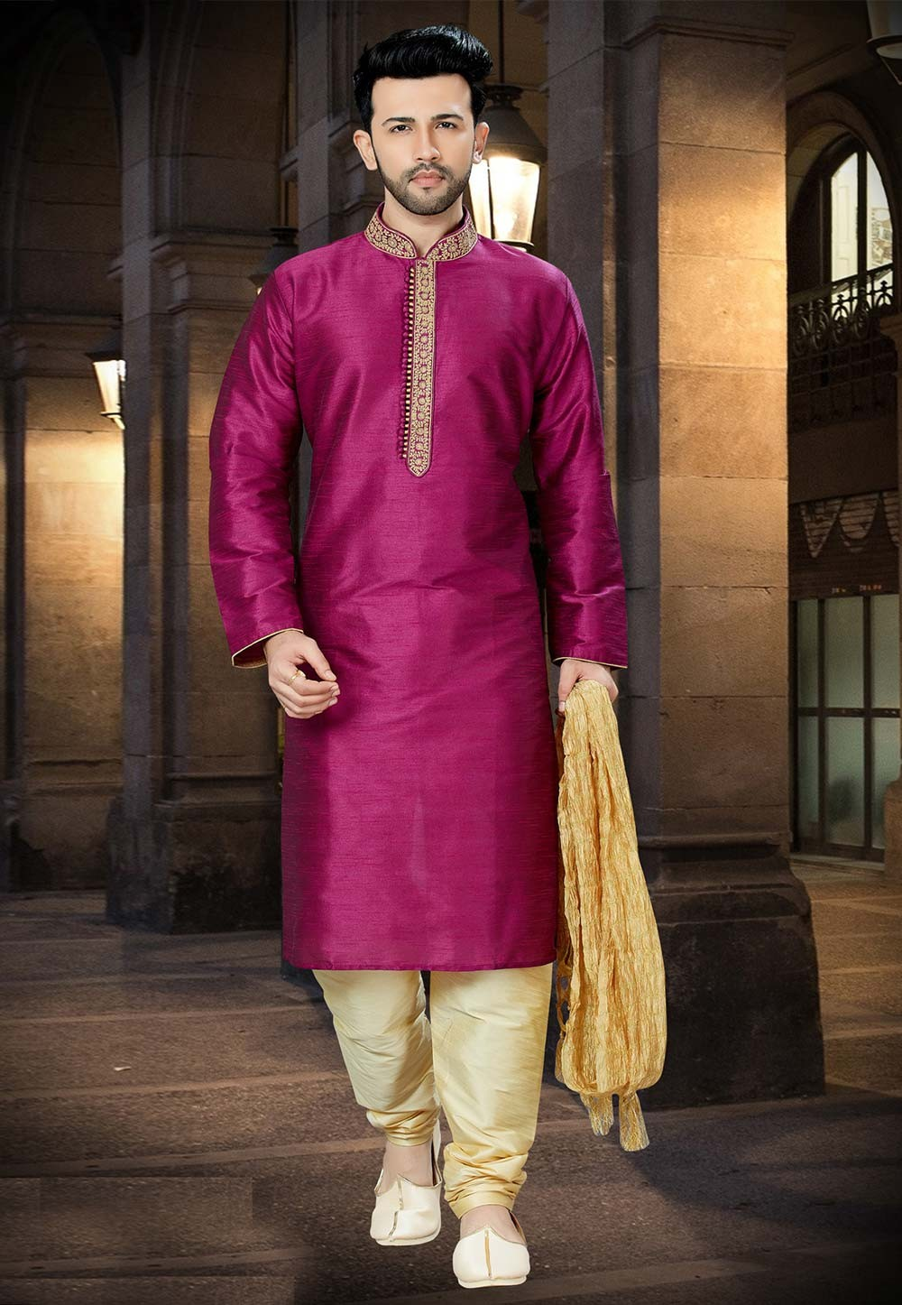 Exquisite Purple Color Readymade Kurta Pajama.