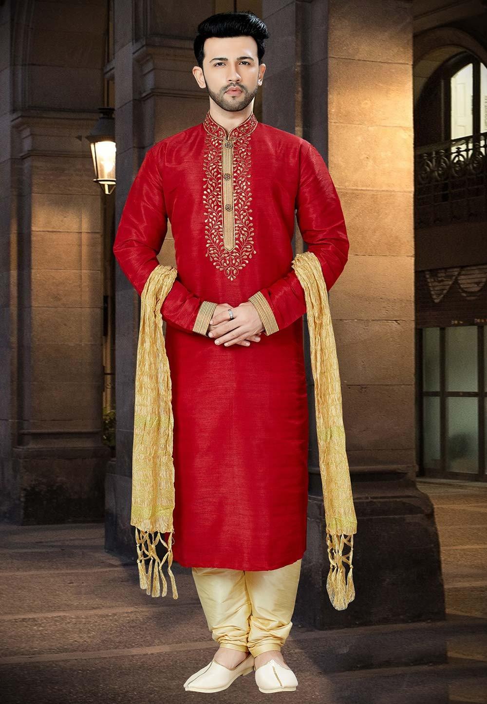 Red Color Indian Kurta Pajama.