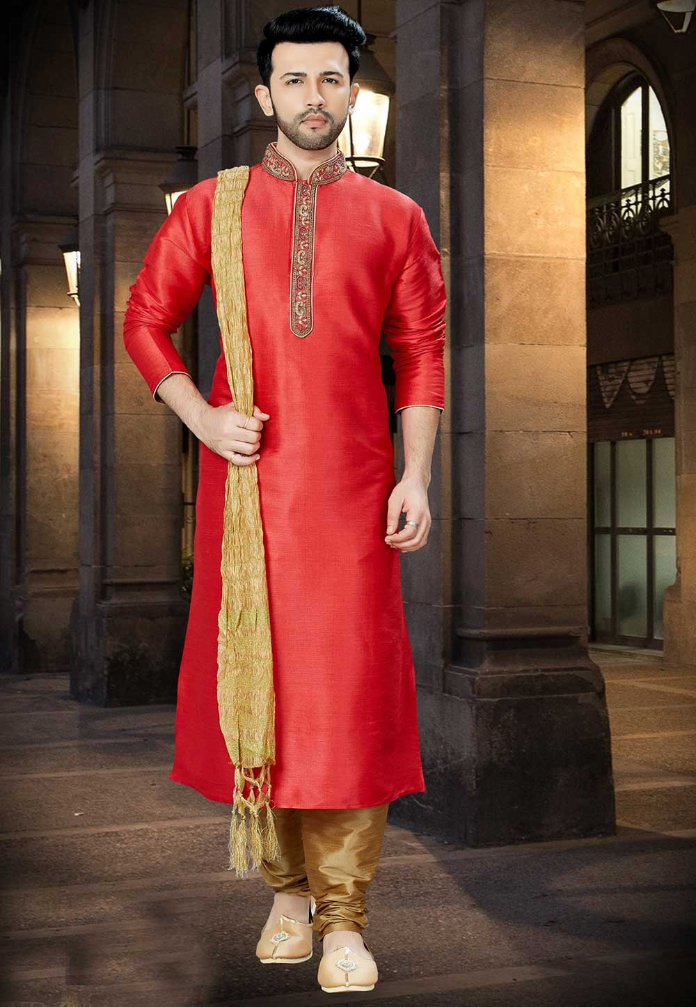 Red Color Party Wear Kurta Pajama.