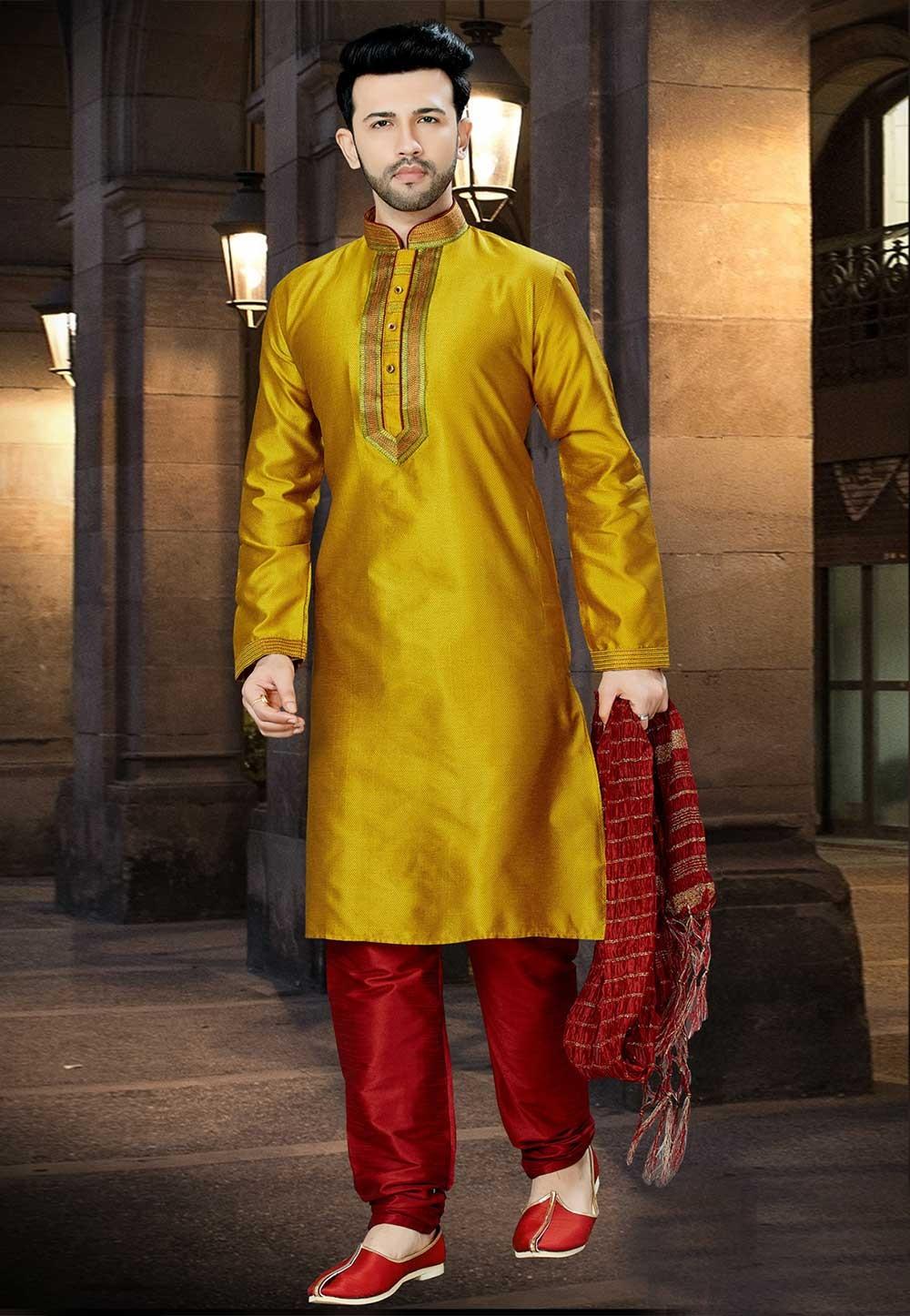 Yellow,Golden Color Designer Kurta Pajama.