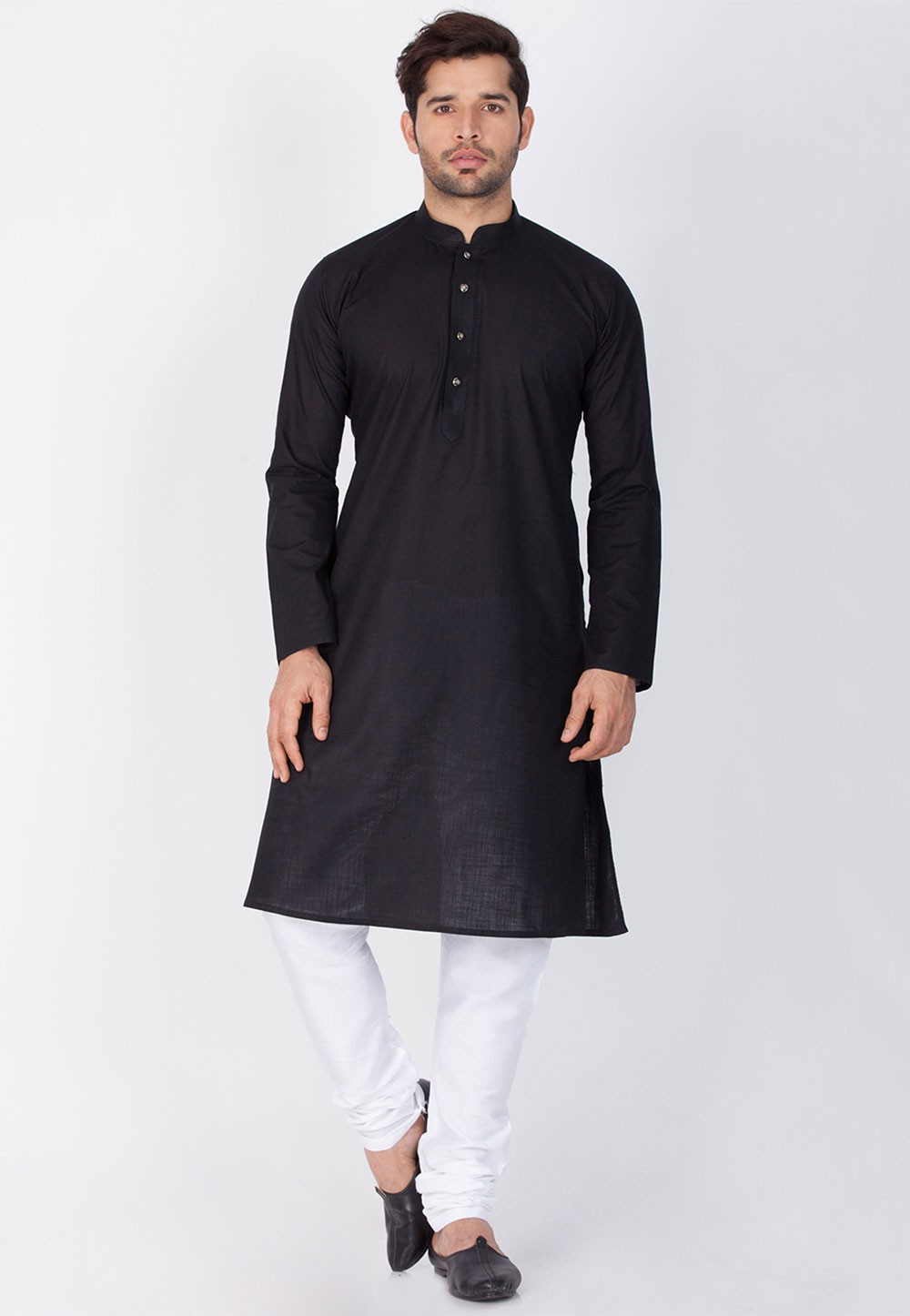 Black Color Linen Kurta Pajama.