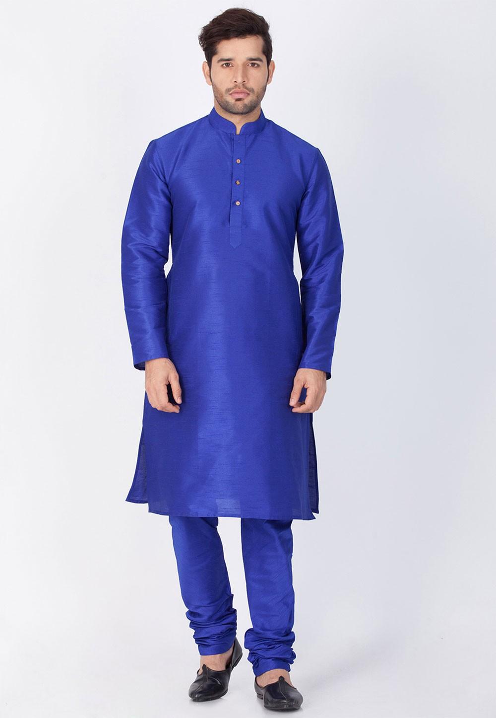 Blue Color Kurta Pyjama.