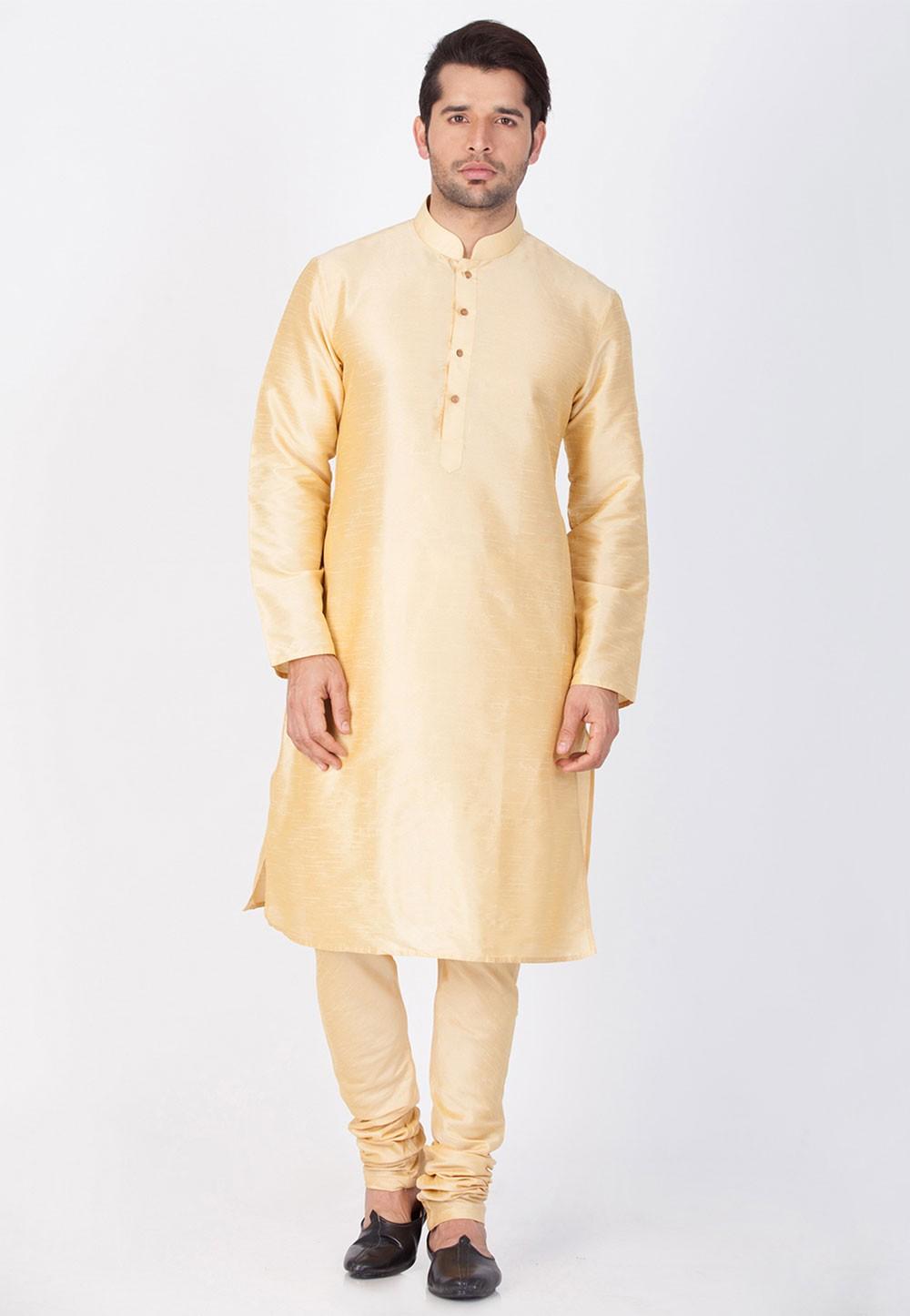 Golden Color Readymade Kurta Pajama.