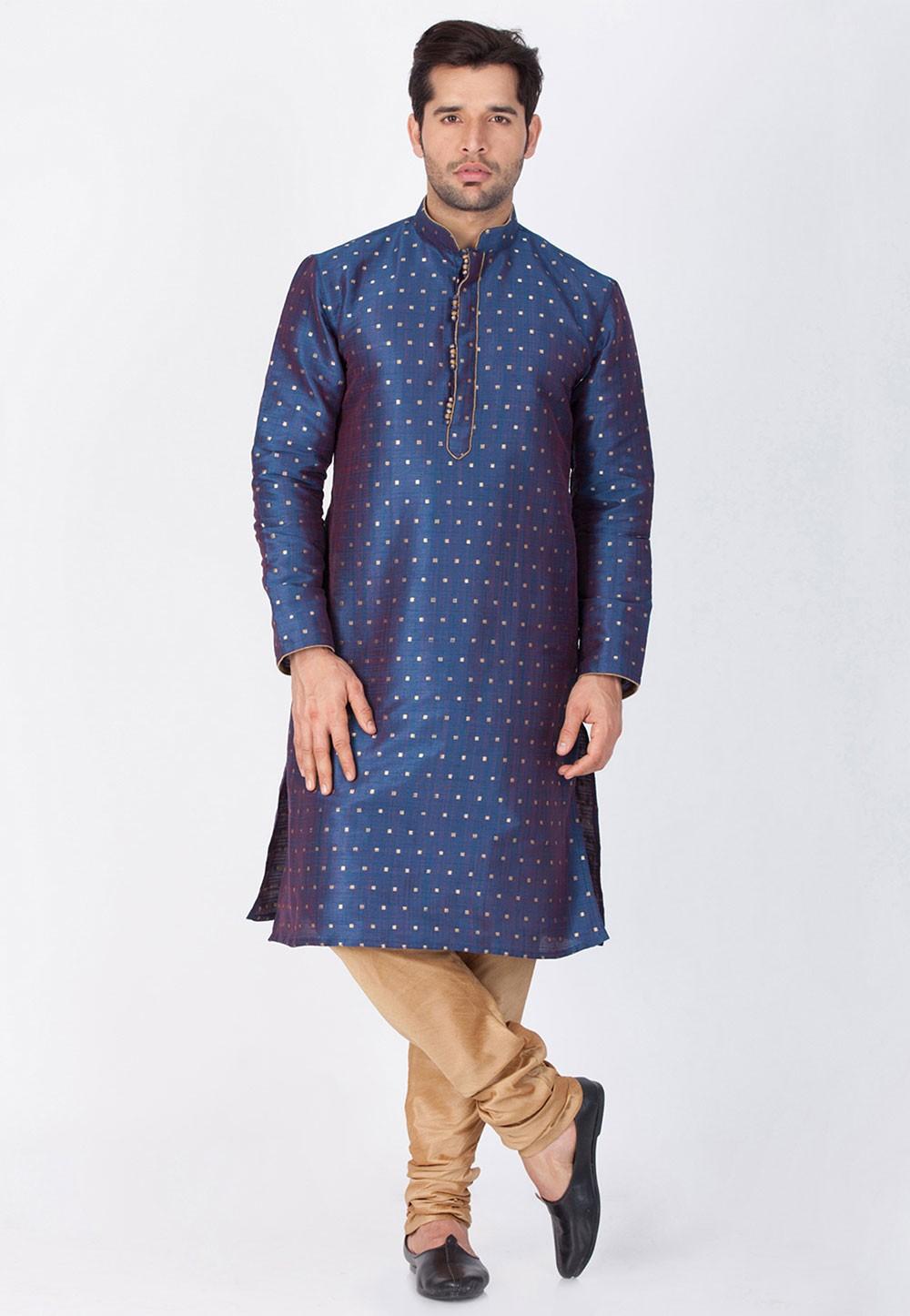 Blue Color Designer Kurta Pajama.