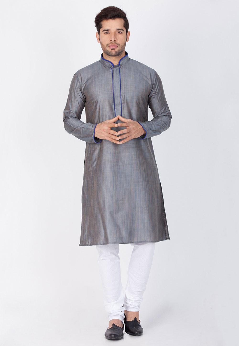 Grey Color Readymade Kurta Pajama.