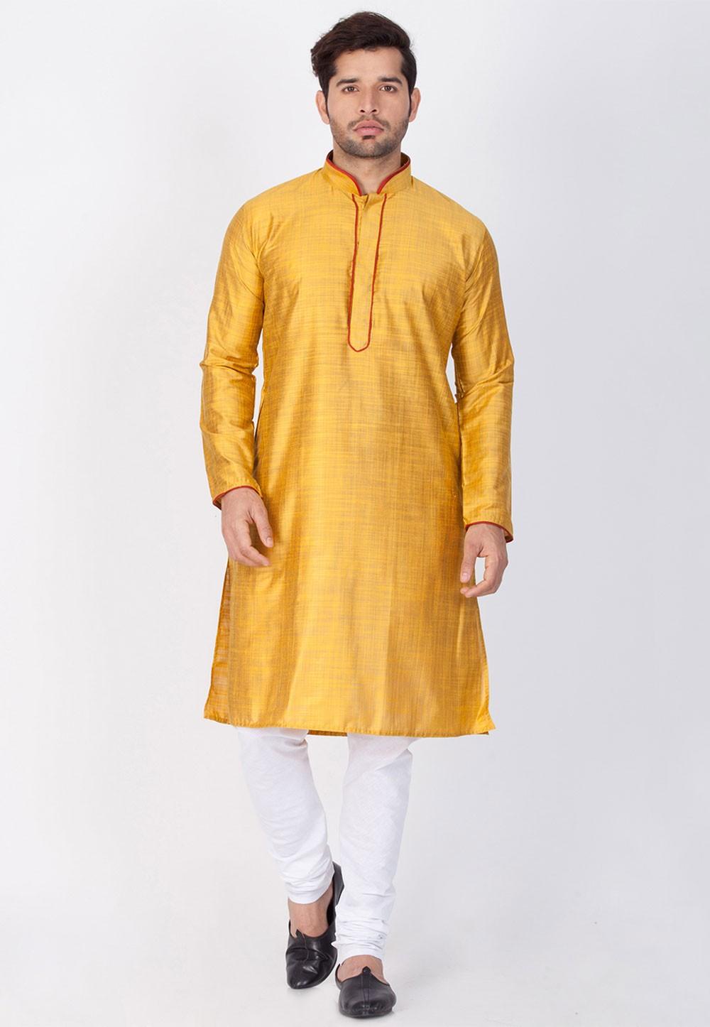 Yellow Color Readymade Kurta Pajama.