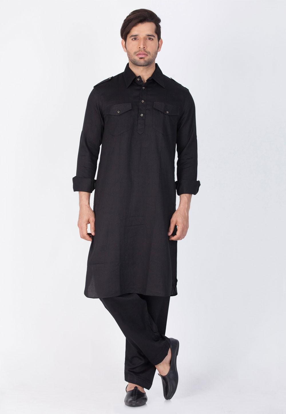 Black Color Pathani Kurta Pajama Online