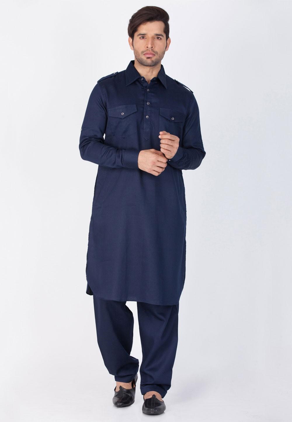 Blue Color Cotton Pathani Kurta Pajama Online