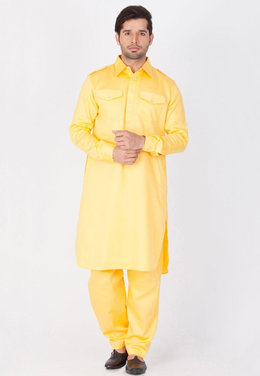 Yellow Color Cotton Kurta Pajama.
