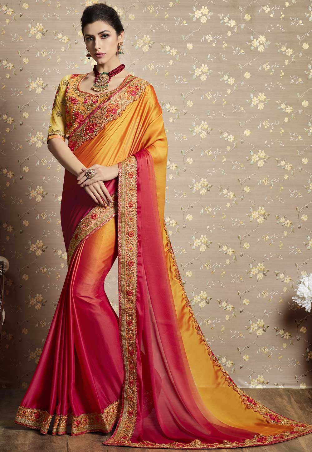 Orange Color Designer Bridal Saree.