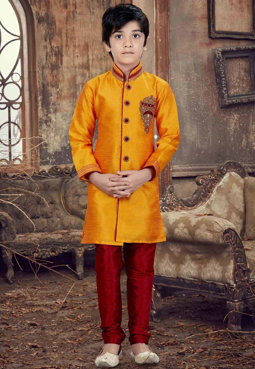 Yellow Color Silk Boy's Readymade Kurta Pajama.