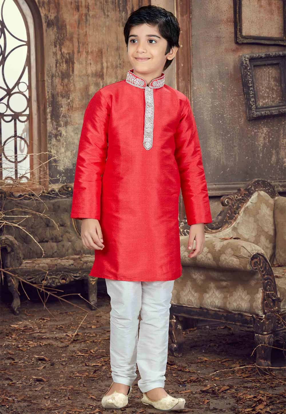 Red Color Boy's Readymade Kurta Pajama.