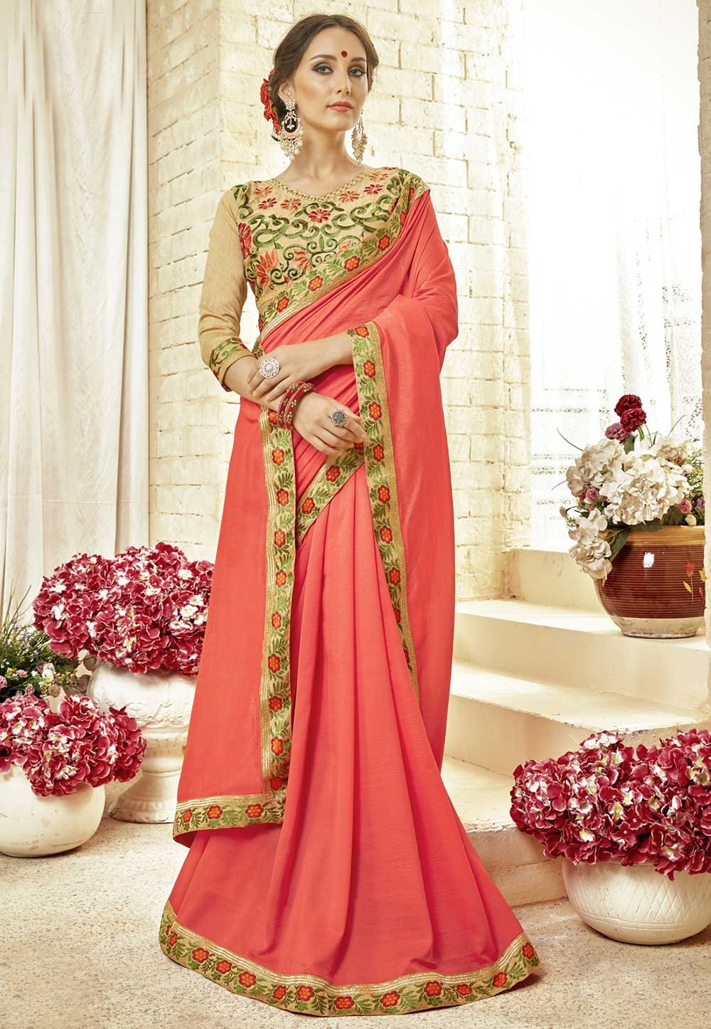 Orange Color Designer Sari.