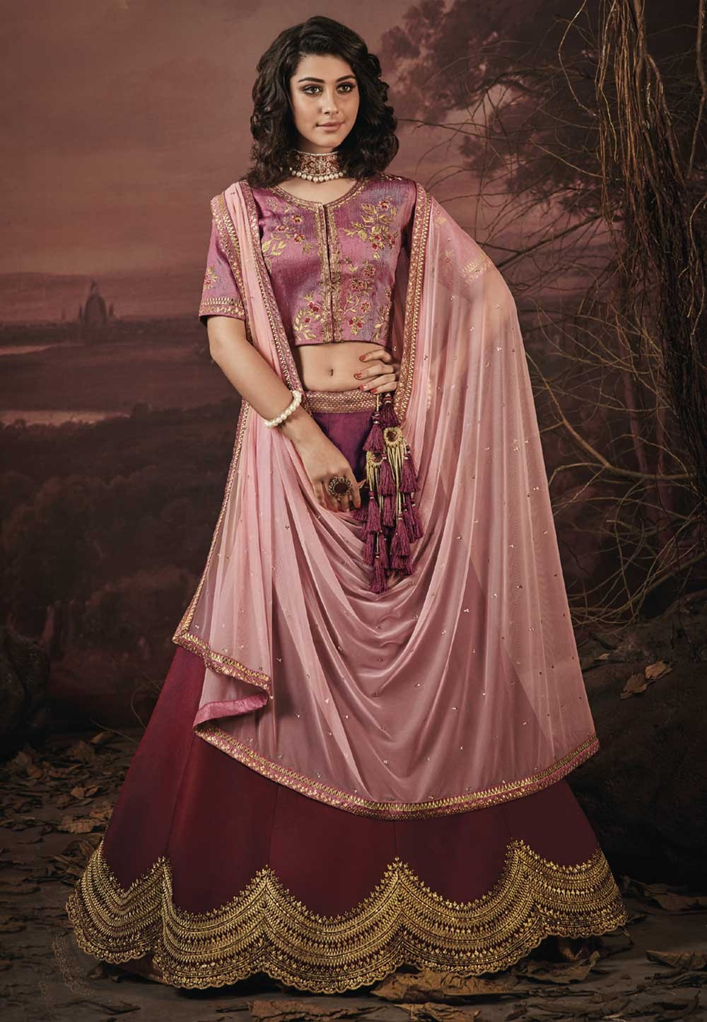 Maroon Color Wedding Lehenga.