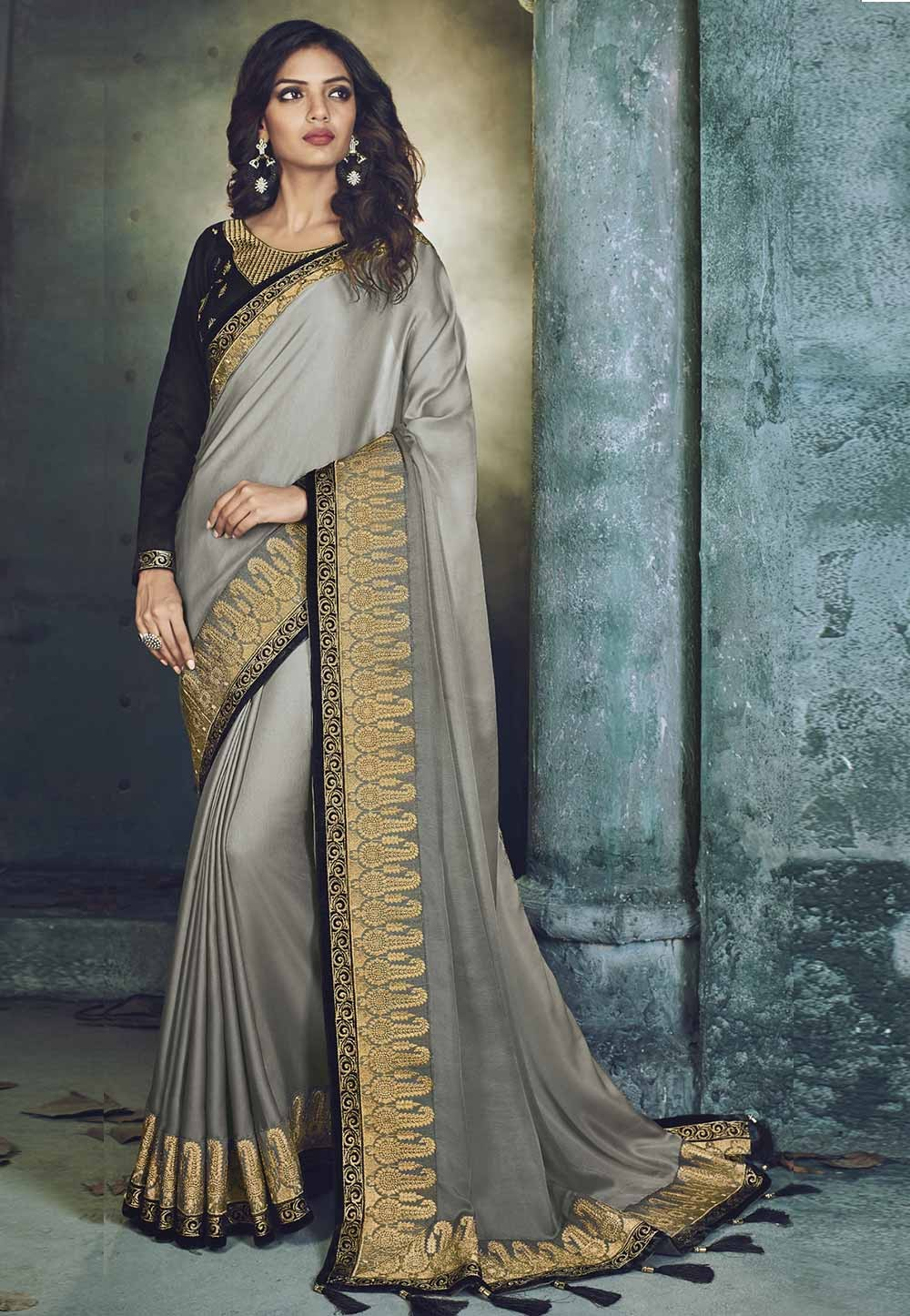 Silver Color Embroidery Saree.