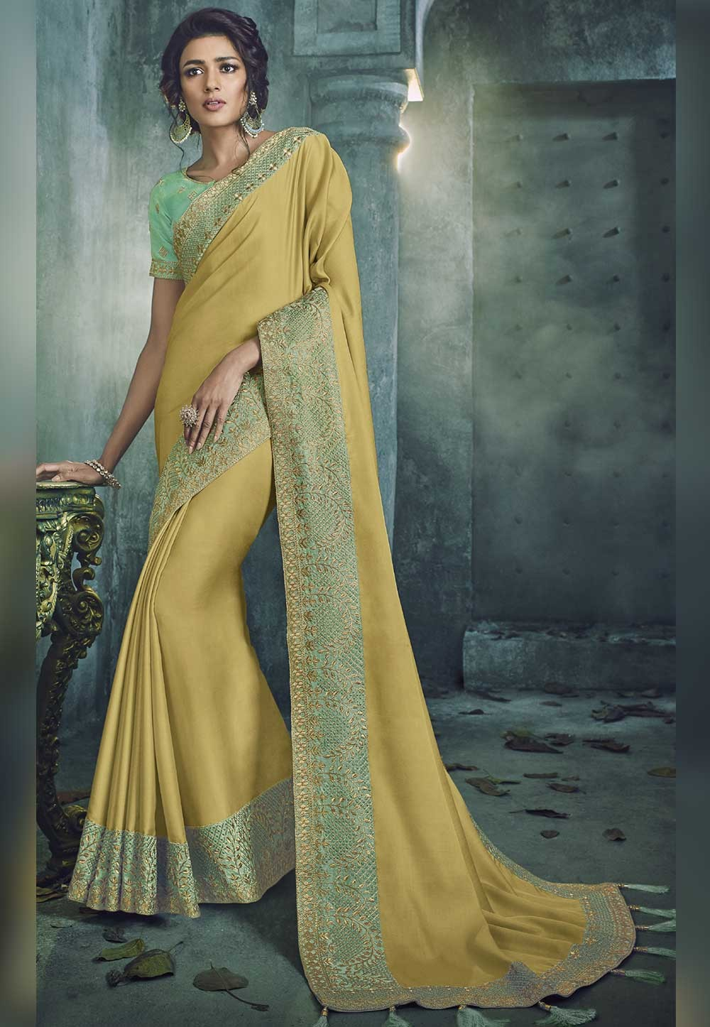 Yellow Color Indian Designer Saree.