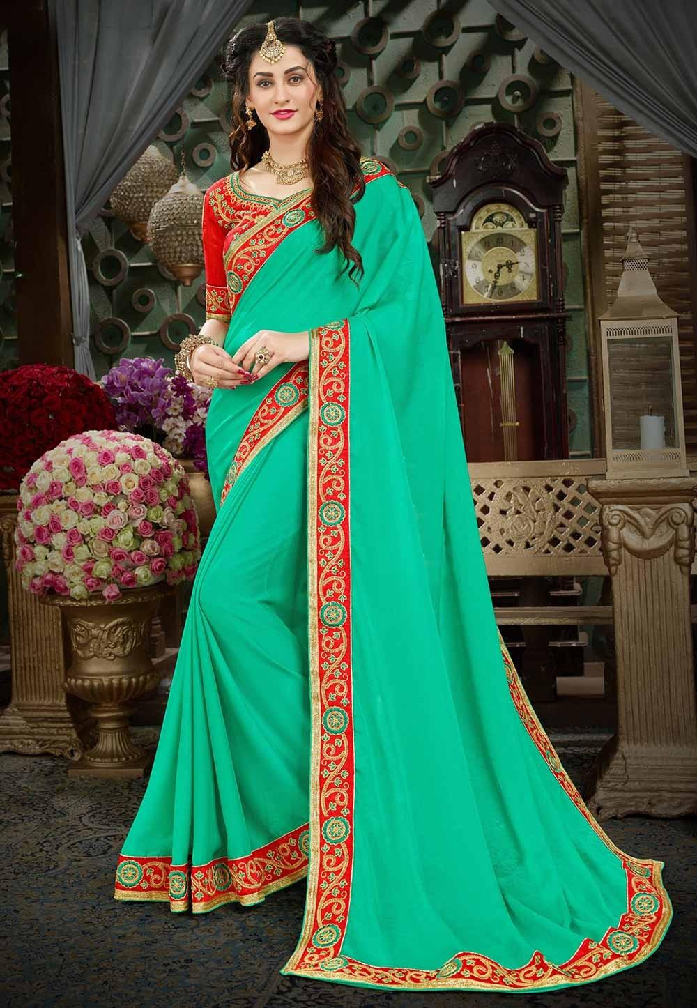 Green Color Designer Saree.